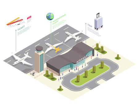 Isometrische Zusammensetzung des Flughafens mit Infografik-Ansicht der Flughafenstandorte mit Terminalgebäude-Fluglinien und Textvektorillustration