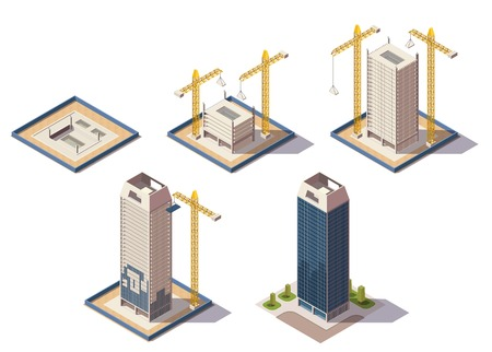 City skyscrapers isometric composition with isolated images of construction site representing different stages of construction process vector illustration Stock Illustratie