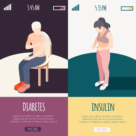 Diabetes isometric banners with male and female patients giving himself shot of insulin vector illustration