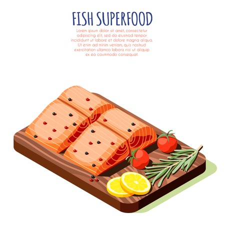 Fish superfood isometric design concept with fresh raw salmon filet on wooden cutting board vector illustration Illustration