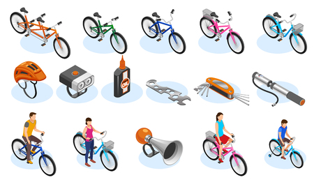 Bicycle isometric icons set with tools accessories and different types of bicycles vector illustration