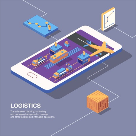 Isometric logistics delivery composition with smartphone image graphs icons of transport and parcel boxes with text vector illustration