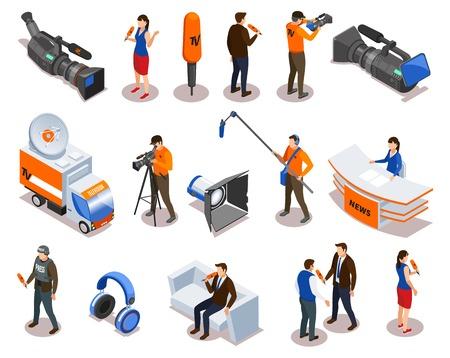 Ausstrahlung von isometrischen Symbolen mit Nachrichtensprecher-Kommentator-Reporter und Personen, die an Talkshows und Interviews teilnehmen