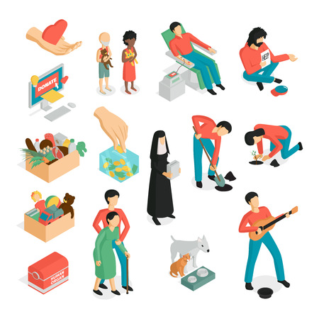 Isometric charity donation volunteers set of isolated images human characters and pictogram icons on blank background vector illustration