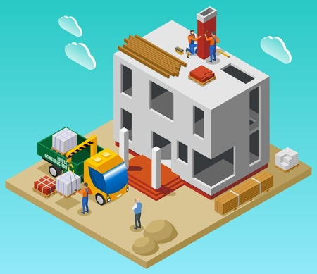 House construction isometric composition with team of builders unloading building materials with crane near unfinished building vector illustration