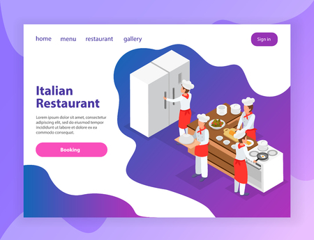 Italian restaurant website isometric landing page with chefs cooking various dishes in kitchen 3d isometric vector illustration Illustration
