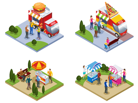 Four isometric outdoors compositions with people near street food trucks delivering pizza burgers ice cream isolated vector illustration Illustration