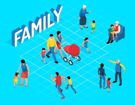 Family isometric flowchart with adults playing with their kids and walking parents carrying troller with newborn vector illustration Illustration