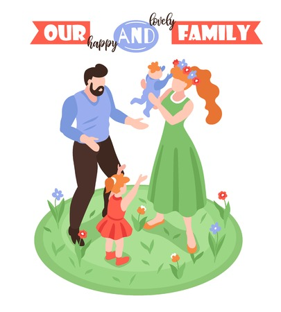 Isometric positive parenting background with faceless characters of man woman and kids on circle grass surface vector illustration Ilustrace