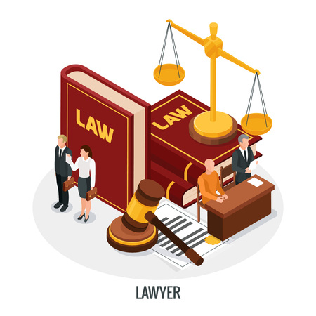 Law justice icons isometric composition with small people characters books of law gavel and golden weight vector illustration