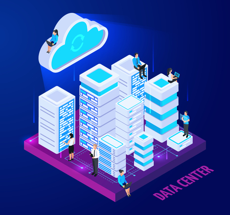 Cloud services isometric conceptual composition with images of server racks and little people characters with text vector illustration
