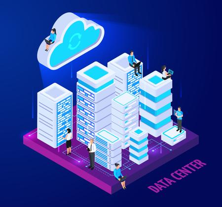 Isometrische konzeptionelle Komposition von Cloud-Diensten mit Bildern von Server-Racks und Charakteren kleiner Leute mit Textvektorillustration