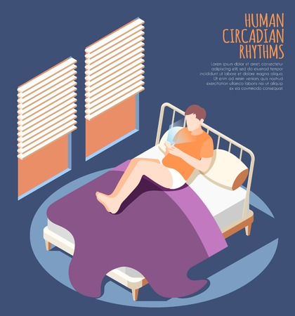 Human circadian rhythms isometric colored background with man at home on the bed watch smartphone vector illustration