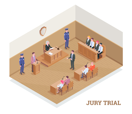 Law justice isometric composition with text and view of court room during session with human characters vector illustration