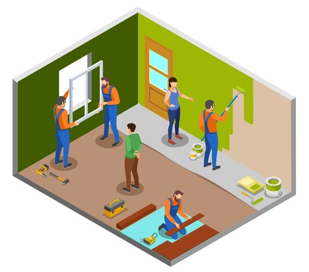 Home repair isometric design concept with craftspeople performing various works in room and owners giving instructions vector illustration