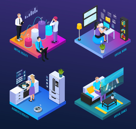 Virtual augmented reality 360 degree isometric 2x2 set of compositions with human characters and computer icons vector illustration