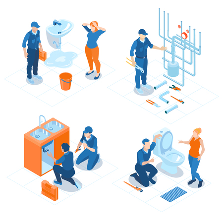 Plumbing service home office bathroom sanitary fixing installations boiler heating system repair 4 isometric compositions vector illustration Illustration