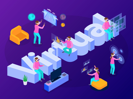 People having fun with virtual reality devices isometric composition 3d vector illustration