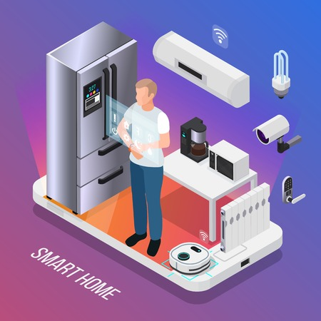 IOT kitchen appliances security camera  isometric composition with owner controlling smart refrigerator with touch display vector illustration
