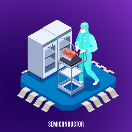 Semicondoctor isometrisches Konzept mit Technologie- und Laboruniformsymbolvektorillustration