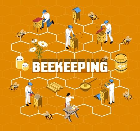 Diagrama de flujo isométrico de apicultura con agricultores en ropa protectora durante la producción de miel en la ilustración de vector de fondo naranja Ilustración de vector