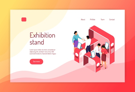 Isometric expo concept banner website page design with images of exhibit racks people and clickable links vector illustration