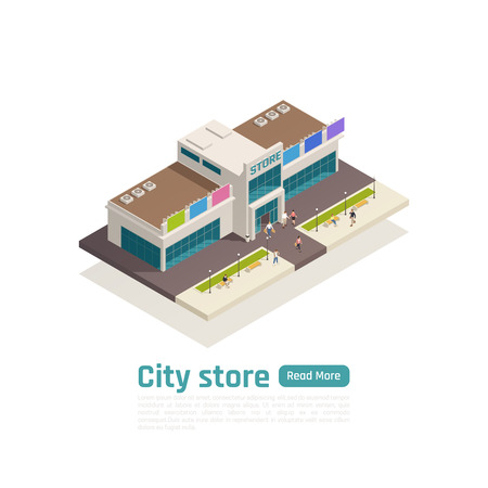 Isometric store mall shopping center composition with green button and big isolated shopping mall vector illustration