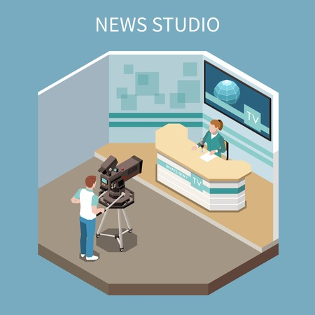 Telecommunication isometric composition with shooting news programme process in studio 3d vector illustration Illustration