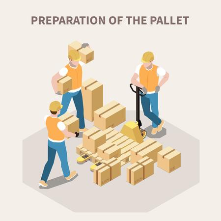 Trabajadores del almacén que ponen cajas de cartón en la ilustración de vector isométrica 3d de paleta de madera