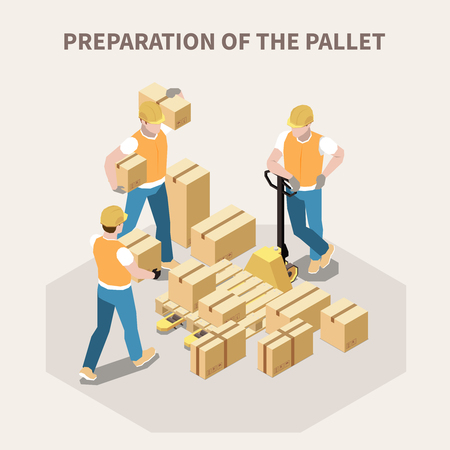 Warehouse workers putting cardboard boxes on wooden pallet 3d isometric vector illustration