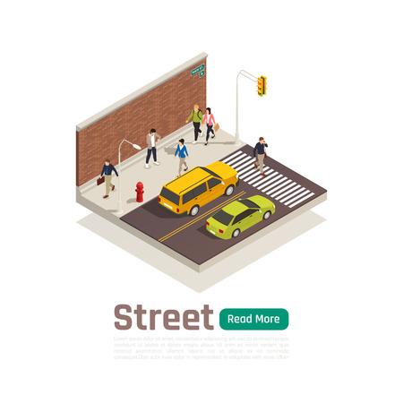 La composizione isometrica della città colorata con il traffico stradale isolato titolo della via e l'illustrazione di vettore dei pedoni