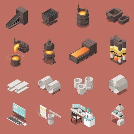 Le icone isometriche hanno messo con l'illustrazione di vettore isolata 3d dell'attrezzatura dell'industria metallurgica
