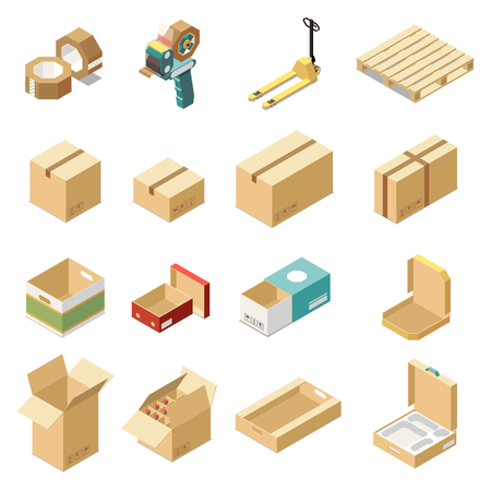 Isometric set with cardboard boxes for various kinds of goods and products isolated on white background 3d vector illustration 일러스트