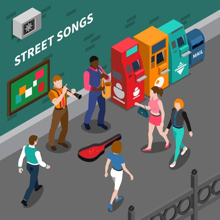 Isometric composition with street musicians playing musical instruments 3d vector illustration Ilustração