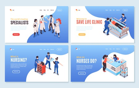 Set of four isolated isometric hospital horizontal banners with clickable links editable text and appropriate images vector illustration Illustration
