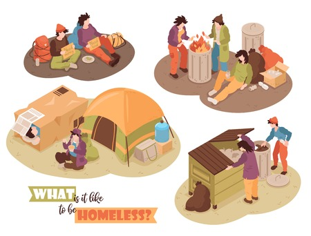 Isometric homeless people design concept with human characters waste bins and camp tents images with text vector illustration
