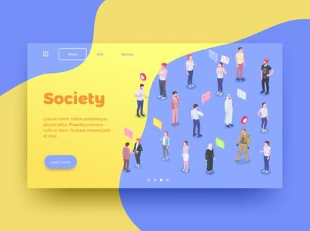 Fond de conception de page de site Web isométrique de personnes de la société avec des personnages humains icônes de bulles de pensée et boutons cliquables illustration vectorielle Vecteurs