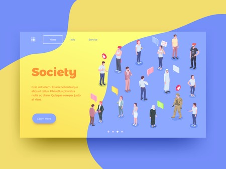 Society people isometric website page design background with human characters thought bubbles icons and clickable buttons vector illustration Vektorgrafik
