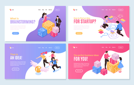 Isometric teamwork brainstorming horizontal banners collection of four isolated compositions with editable text links and images vector illustration