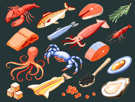 Sea food isolated colored icons with salmon filet calamari caviar mussels crabs oysters shark meat on black background isometric vector illustration
