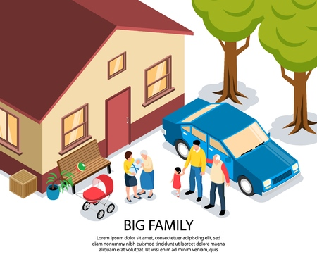Big family isometric vector illustration with grandma and grandpa congratulating young parents with newborn near their house Ilustrace