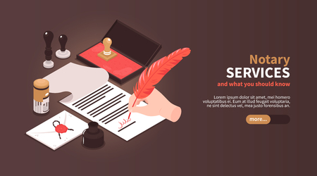 Isometric notary services horizontal banner with vintage workspace elements stamps and editable text with slider button vector illustration 일러스트