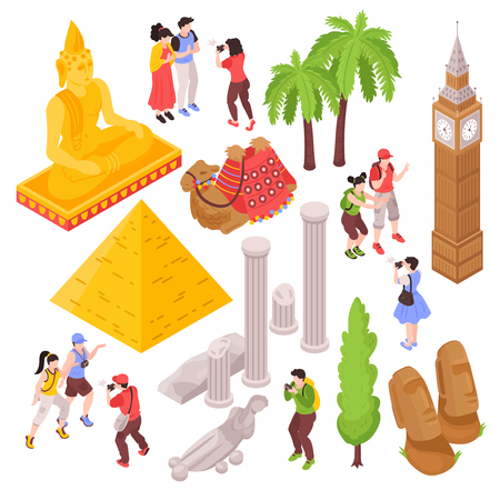 Isometric journey travel attractions set with isolated images of tourists and famous sightseeing places of interest vector illustration