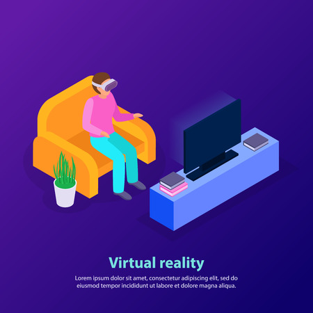 Person sitting in front of tv set and using virtual reality device on blue background 3d isometric vector illustration