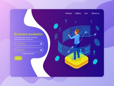 Business intelligence advanced analytics online service marketing isometric composition glow landing web page login design vector illustration Illustration