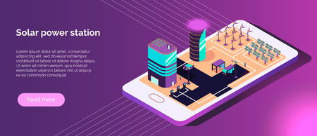 Isometric smart city horizontal banner with text and images of alternative power sources on smartphone screen vector illustration
