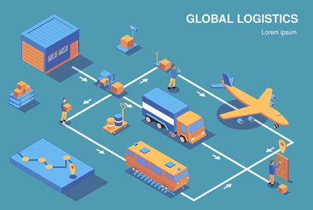 Horizontales Kompositionsflussdiagramm der isometrischen Logistik mit Blick auf menschliche Charaktere und verschiedene Fahrzeuge, die mit Pfeilvektorillustration verbunden sind