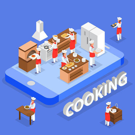Cooking and delivery isometric composition with kitchen staff interior and smartphone concept3d vector illustration