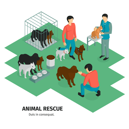Isometric charity composition with human characters of people guardians and domestic animals pets with editable text vector illustration Illustration