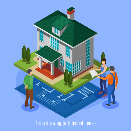 House construction phases background from drawing to finished house isometric vector illustration